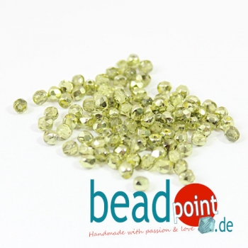Fire polished 3 mm Crystal Lime Metallic Ice 100 St