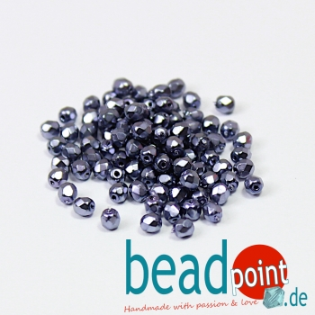 Fire Polished 4mm Jet Heavy Metal Persian Blue 100 St