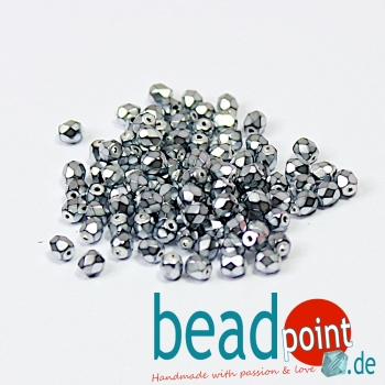 Fire Polished 4mm Jet Heavy Metal Silver 100 St