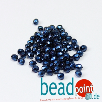 Fire Polished 4mm Jet Heavy Metal Navy Blue 100 St