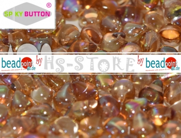 Spiky Button 4,5x6,5mm crystal brown rainbow 50 stk.