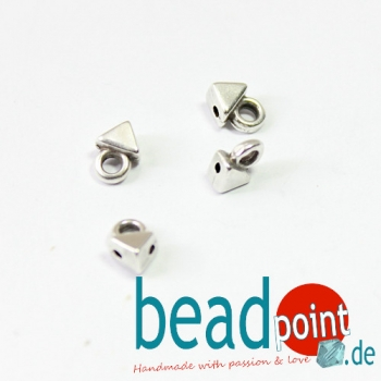 AGALI-KITE BEAD ENDING ANT. SILVER PLATE 4pcs