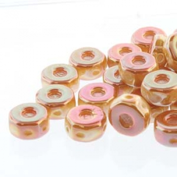 OCTO 8X4MM 3HL COIN CHALK APRICOT 25PC