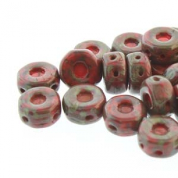 OCTO 8X4MM 3HL COIN RED TRAVERTINE 25PC