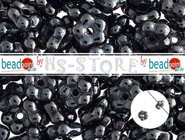 Forget Me Not Flower Beads 5mm gunmetal opaque luster 75 pc