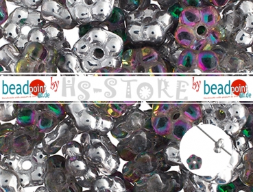 Forget Me Not Flower Beads 5mm Crystal/Labrador h-coat 75 pc