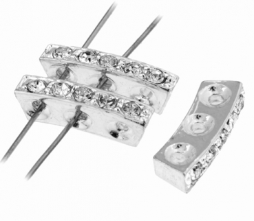 Czech R/S Spacer 3hole curved 18x11mm crystal/silver 1pcs