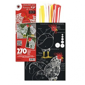 Rooster & Hen Kit incl, quilling board 240 St. Paper St./Pcs