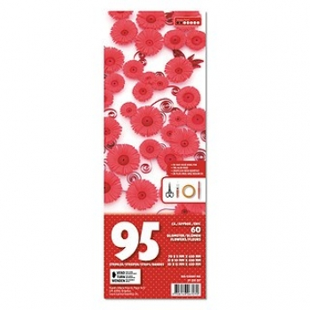 3D Flowers quilling kit small-Red/cherry 95 St. Paper St./Pcs 115/120g
