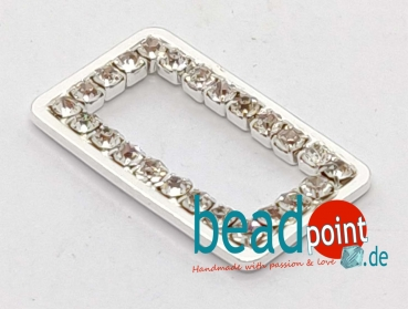 Jewel Finding Rectangle 23x14mm silver Strass