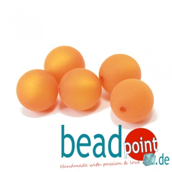 Polarisperle rund 14 mm matt orange 5 St.