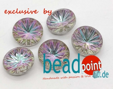 Rillendublette Cabochon rund 15mm Crystal vitrail light 5 St