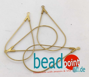 Brass Drop Earing Frame 44,5x23x0.8mm 4 Stk